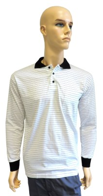 ESD polo long sleeves type ESD130, white